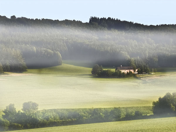 Casa e pôr-do-sol com neblina por Álvaro Almeida